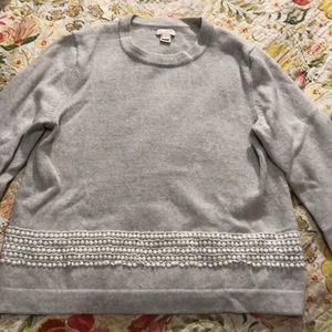 J.Crew cream/grey heather sweater lace detail